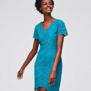 New Ann Taylor Loft Turquoise Green lace dress 4